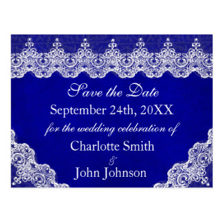 Royal Personalised Blue Cobalt Lace Save the Date Postcard