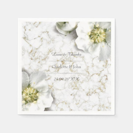 Royal Personalized Floral Marble Gold White Thank Paper
