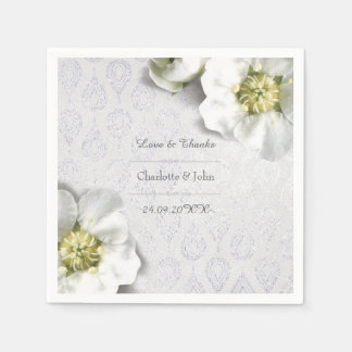 Royal Personalized Floral Silver Gray White Thank Paper Napkins