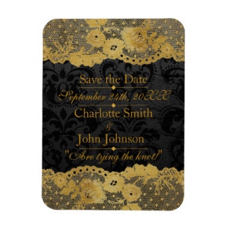 Royal Personalized Golden Black Lace Save The DAte Magnet