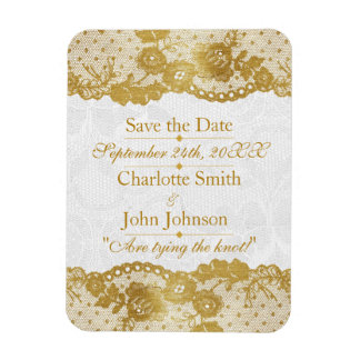 Royal Personalized Golden White Lace Save The DAte Magnet