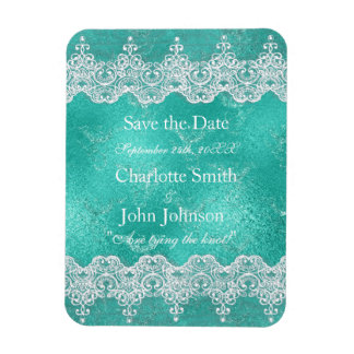 Royal Personalized Mint Blue & Lace Save The DAte Rectangular Photo Magnet