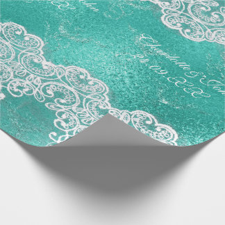 Royal Personalized Mint Blue Lace Wrapping Paper