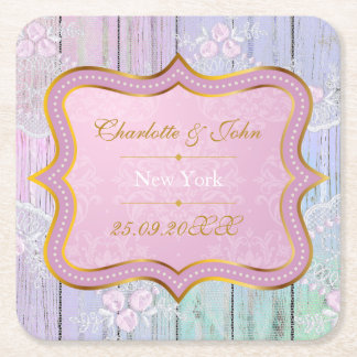 Royal Personalized Mint Lace Save The  Coasters