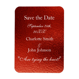 Royal Personalized Red Shiny Save The Date Magnet