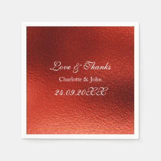 Royal Personalized Red Shiny Wedding Disposable Serviette