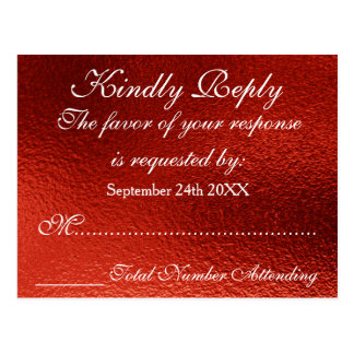 Royal Personalized RSVP Red Shiny Postcard