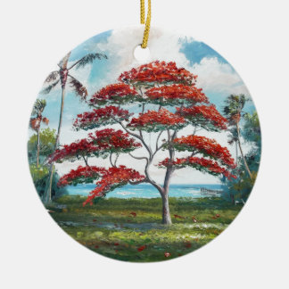 Royal Poinciana and Palm Tree Christmas Ornament