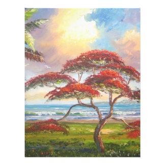 Royal Poinciana Tree Painting 21.5 Cm X 28 Cm Flyer