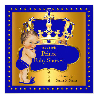 Royal Prince Baby Shower Blue Boy Crown 13 Cm X 13 Cm Square Invitation Card