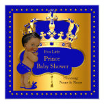 Royal Prince Baby Shower Blue Boy Crown Ethnic 13 Cm X 13 Cm Square Invitation Card