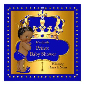 Royal Prince Baby Shower Blue Boy Crown Ethnic 13 Cm X 13 Cm Square Invitation Card