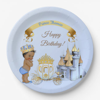 Royal Prince Castle Carriage Blue Gold Boy Paper Plate