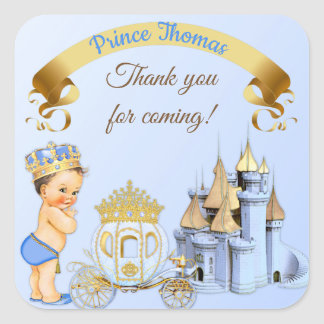 Royal Prince Castle Carriage Blue Gold Boy Square Sticker
