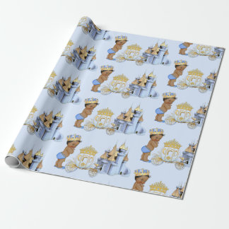 Royal Prince Castle Carriage Blue Gold Boy Wrapping Paper