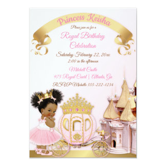 Royal Princess Castle Carriage Pink Gold Girl Card