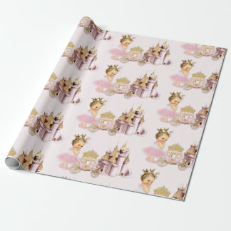 Royal Princess Castle Carriage Pink Gold Girl Wrapping Paper