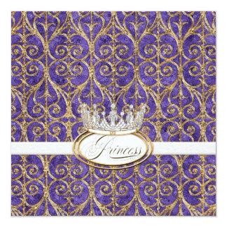 "Royal Princess Crown Girl Birthday Party Invites 5.25"" Square Invitation Card"