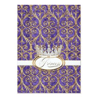"Royal Princess Crown Girl Birthday Party Invites 5"" X 7"" Invitation Card"