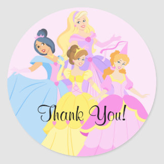 Royal Princess Girls Thank You Birthday Sticker