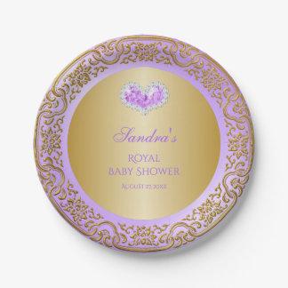 Royal Princess Lavender Gold Diamond Heart Gem Paper Plate