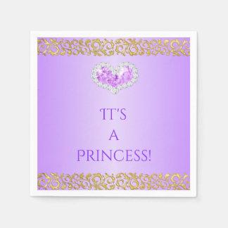 Royal Princess Lavender Lilac & Gold Diamond Heart Disposable Napkin