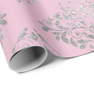 Royal Princess Pink Silver Damask Shiny Wrapping Paper