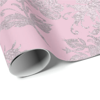 Royal Princess Pink Silver Roses Shiny Wrapping Paper