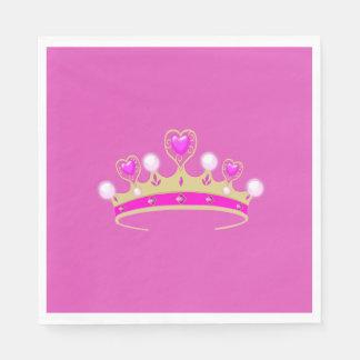 Royal Princess Queen Crown Coronet Party Pink Gold Disposable Napkin