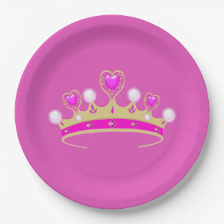 Royal Princess Queen Crown Coronet Party Pink Gold Paper Plate