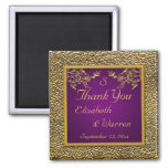 Royal Purple and Gold Floral Wedding Favour Magnet