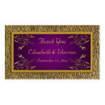 Royal Purple and Gold Floral Wedding Favour Tag
