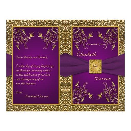 Royal Purple and Gold Medallion Wedding Program 21.5 Cm X 28 Cm Flyer
