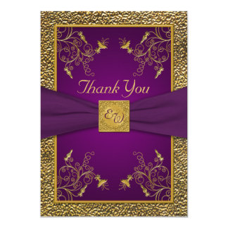 Royal Purple and Gold Monogram Thank You Card 13 Cm X 18 Cm Invitation Card