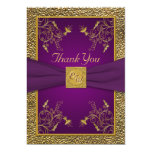 Royal Purple and Gold Monogram Thank You Card 13 Cm X 18 Cm Invitation Card