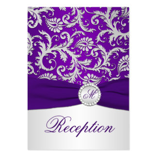 Royal Purple and Silver Damask Enclosure Card Business Card Template