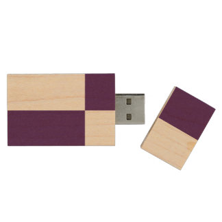 Royal Purple and White Rectangles Wood USB 3.0 Flash Drive