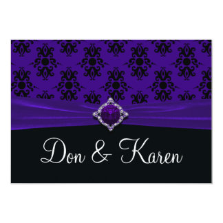 Royal Purple & Black Damask Invite