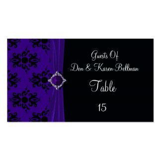 Royal Purple & Black Damask Place Business Card Templates