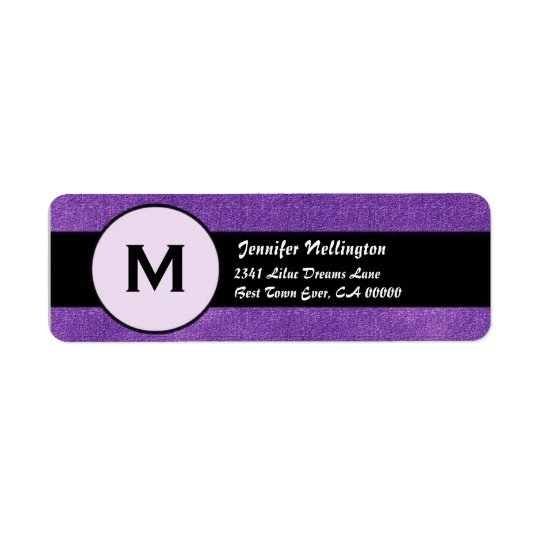 Royal Purple Black Wedding Monogram M300 Return Address Label
