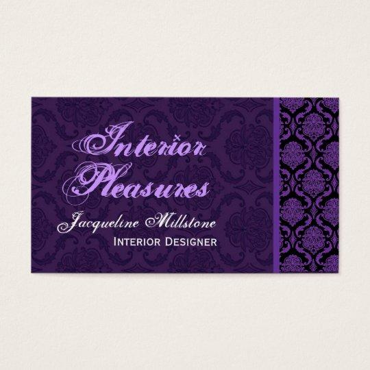 Royal Purple Damask Monogram Business Card