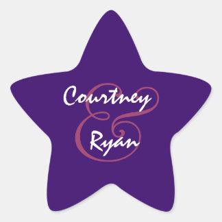Royal Purple Envelope Seal Wedding Star Sticker