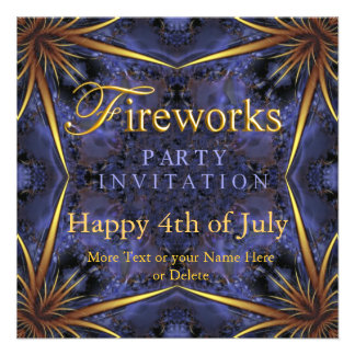 Royal Purple Gold Fireworks Party Invitations