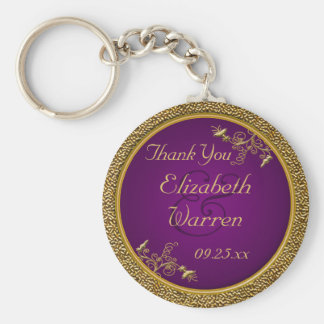 Royal Purple, Gold Floral Wedding Favor Keychain