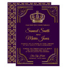 Royal Purple Gold Ornate Crown Wedding Invitation