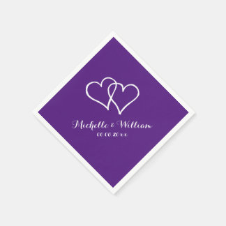 Royal purple interlocking hearts wedding napkins disposable serviette