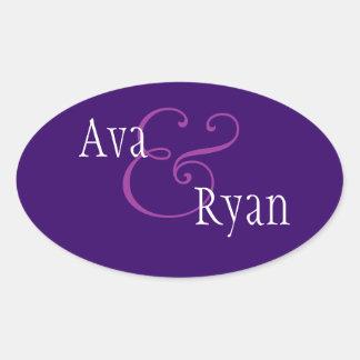 Royal Purple Modern Envelope Seal Wedding Oval Sticker