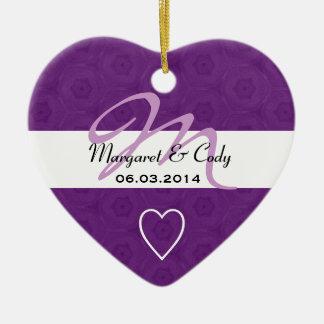Royal Purple Monogram Bride Groom Wedding B460 Ceramic Heart Decoration