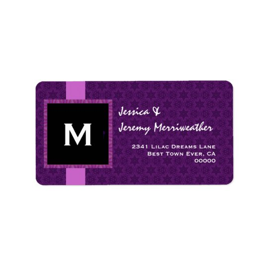 Royal Purple Monogram Square Frame and Ribbon M321 Label