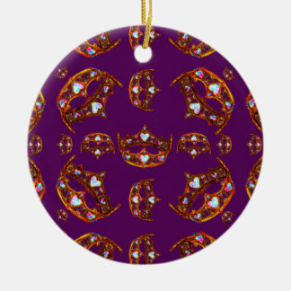 Royal Purple Queen of Hearts gold crown tiara Christmas Ornament
